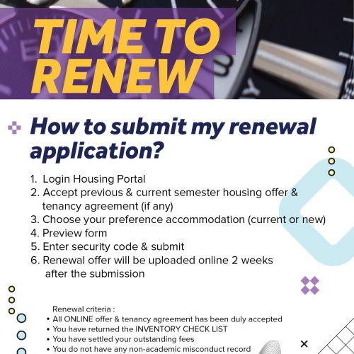 Housing Renewal Semester 2, 2021